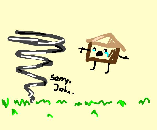 tornado yeets a house