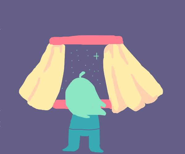 girl observes the night sky