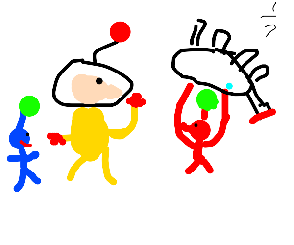 Olimar and two handsome pikmin
