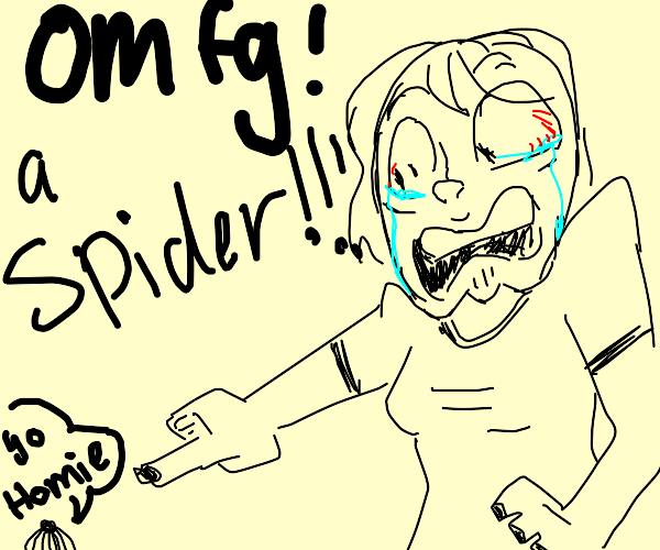 Girl screaming at spider