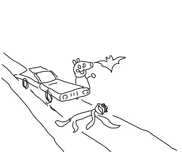 peppa pig holding a bat runs kermit over