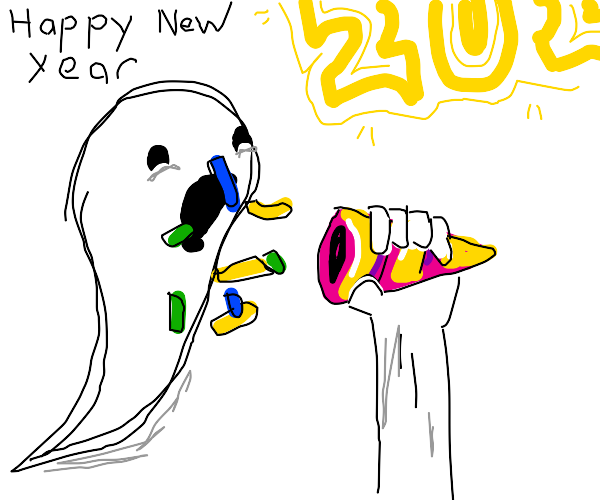 Ghost scared of party popper at new years day