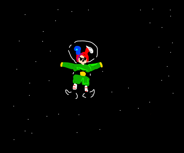 Elf in space wearing a red and blue bunny hat