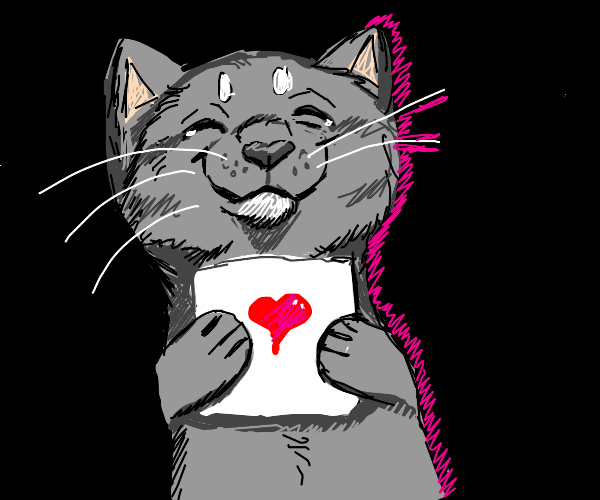 Delighted cat reading a Valentines card