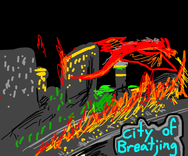 dragon burns breatjing