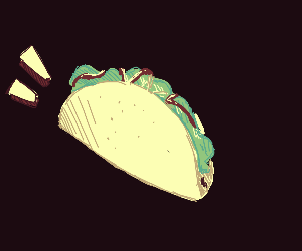 A taco in front of brown background