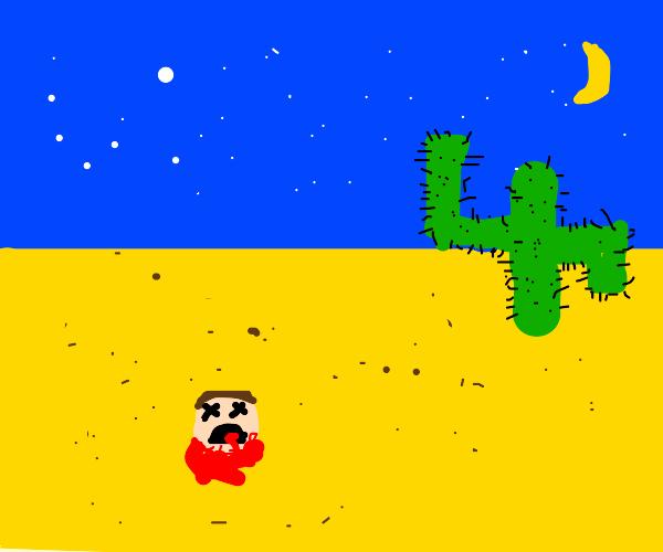 Severed head in the desert