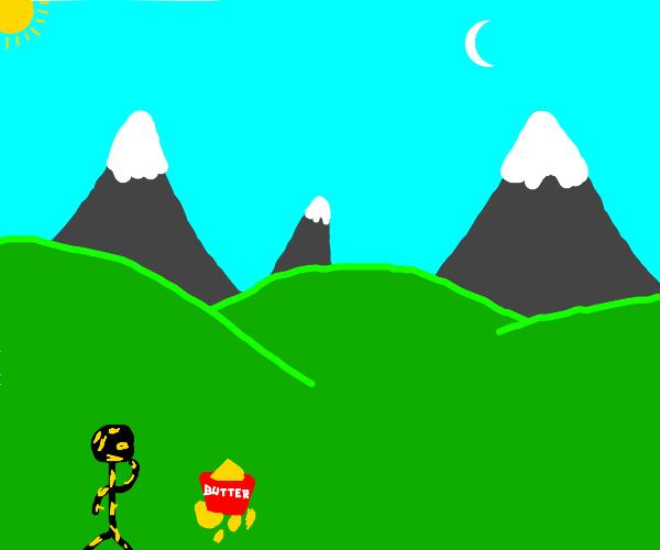buttery boy enjoying the mountain scenery