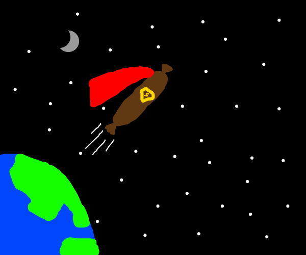Sausage with cape flies into space