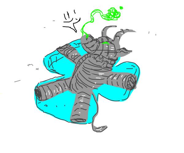 Happy Gorgon Making a Snow Angel