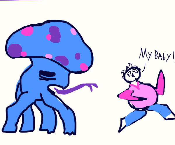 pregnant women chased by mushroom