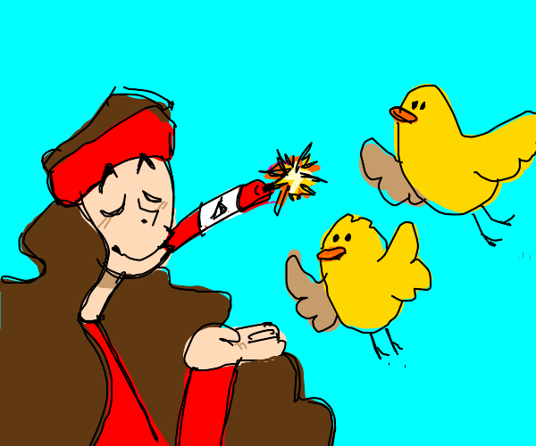 Hippie smokes dynamite while birdcharming