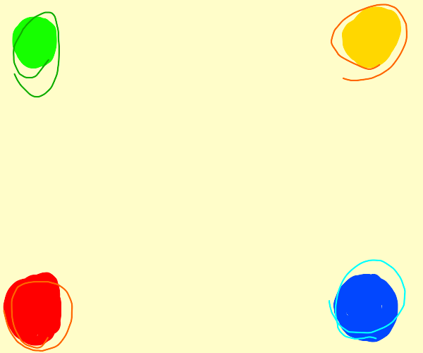 green,yellow,red,blue dots 1 in each corner