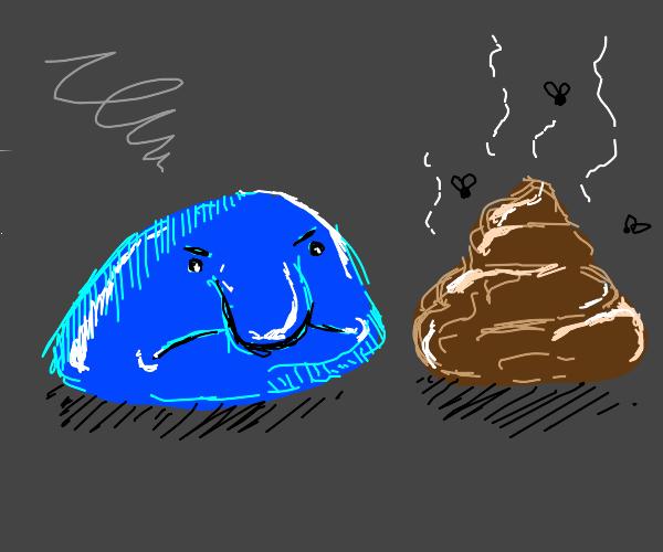 blue blob fish furious at stinky poo