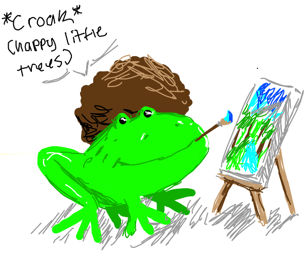 Bob Ross as a frog, frog Ross, Bob moss