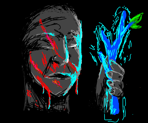 Dead man holding a glowing blue twig