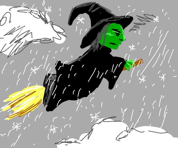 angry green witch flies in the snowy sky