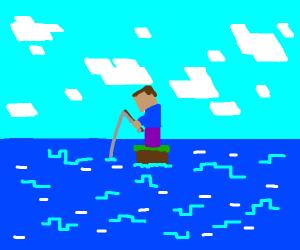 minecraft fishing on a 1-block island
