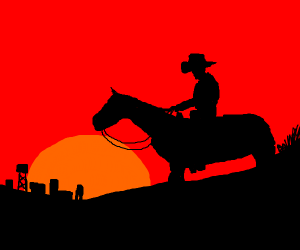 Cowboy stares at distant city during sunset