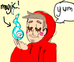 man in red hoodie(possibly Tord) eats magic
