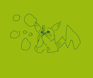 pikachu blows soap bubbles