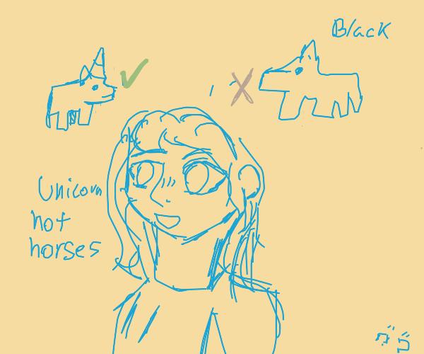 anime girls like unicorns,not black horses