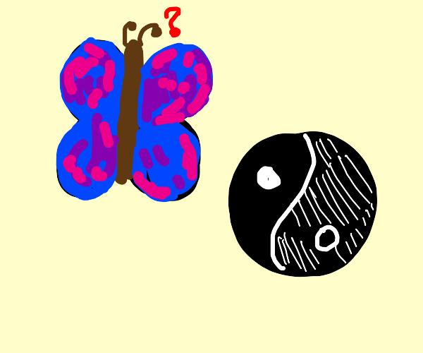 Blue/Purple Butterfly Obscuring a Yin Yang