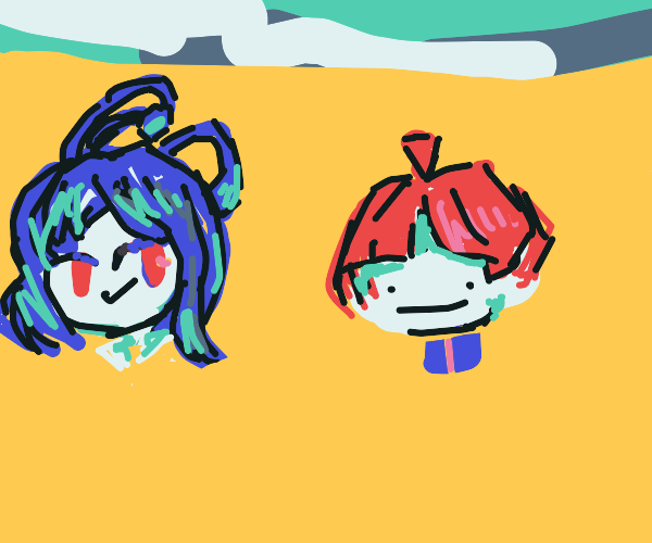 two anime characters in the desert