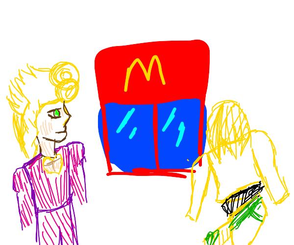 Anime character eats McDonalds