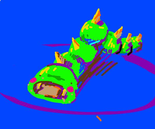 Baby neon caterpillar eating bread