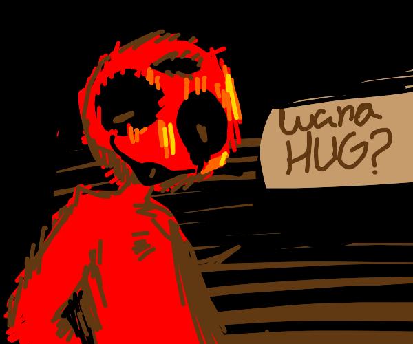 Creepypasta Elmo offers a hug
