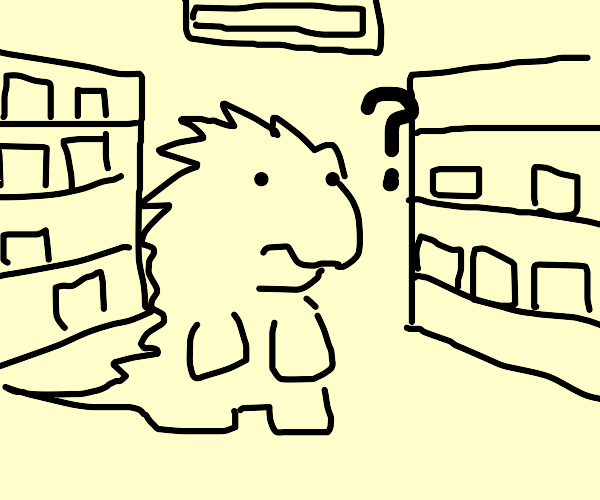 Godzilla is lost at the grocery store