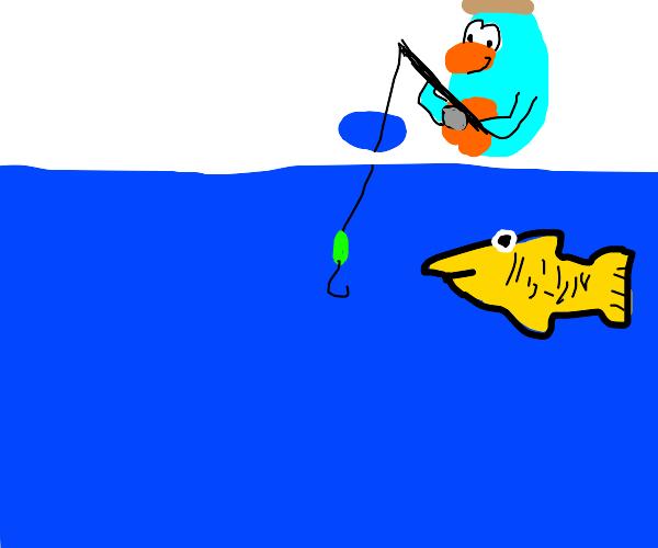Club Penguin ice fishing mingame