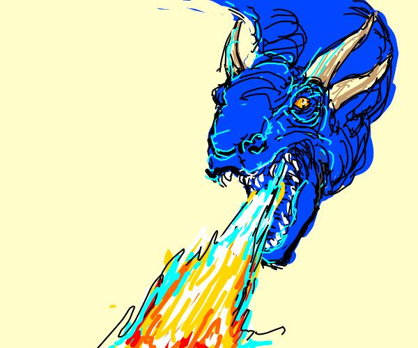 a beautiful blue dragon