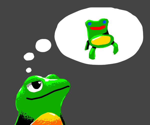 Frog thinks about a lovely froggy chair