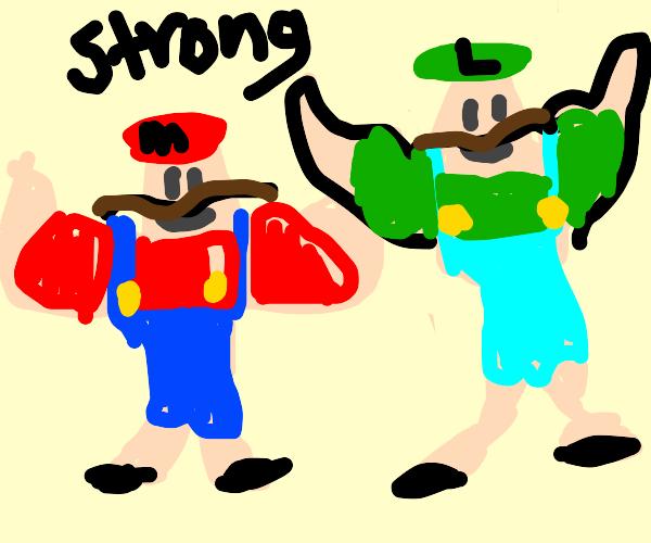 Buff Mario and Buff Luigi