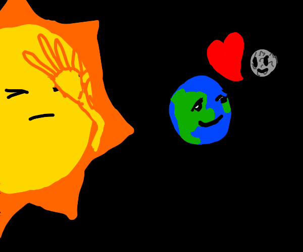 Sun facepalms at earth and moon being in love