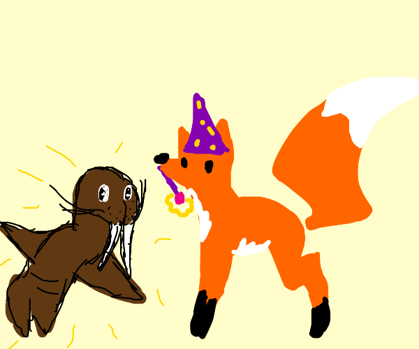 Magic fox creates a walrus