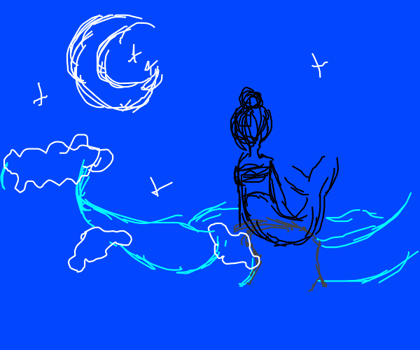 Mermaid enjoying the moon