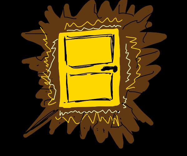 A glowing yellow door in a dark cave