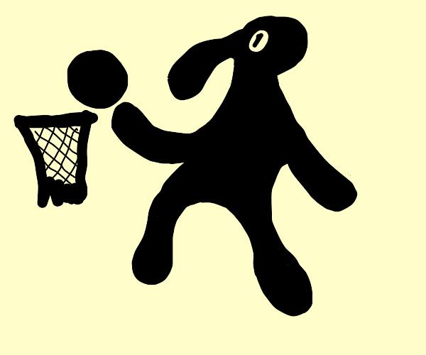 Michael Jordan dunking in silhouette form