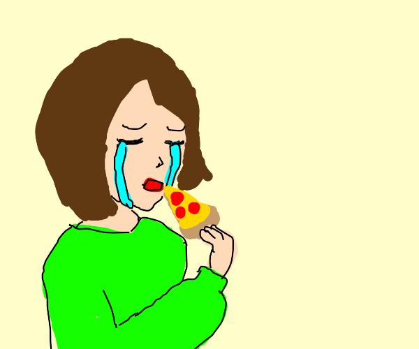 I'm eating pizza, but I'm still sad