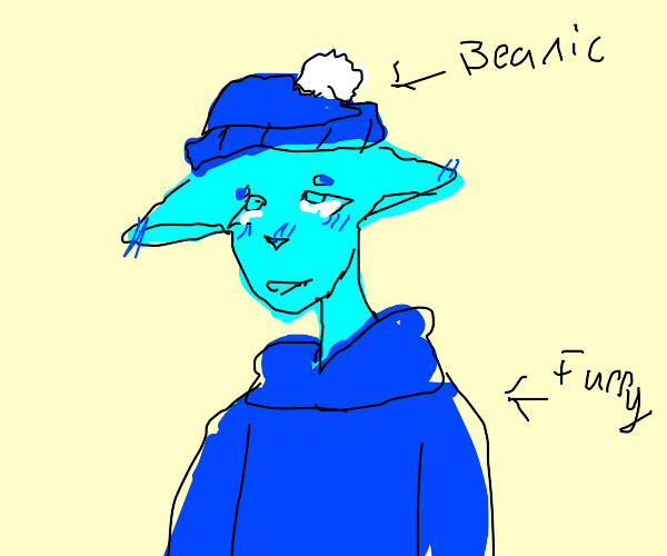 furry with a beanie