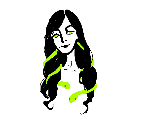 happy beautiful woman with snakes in a hair