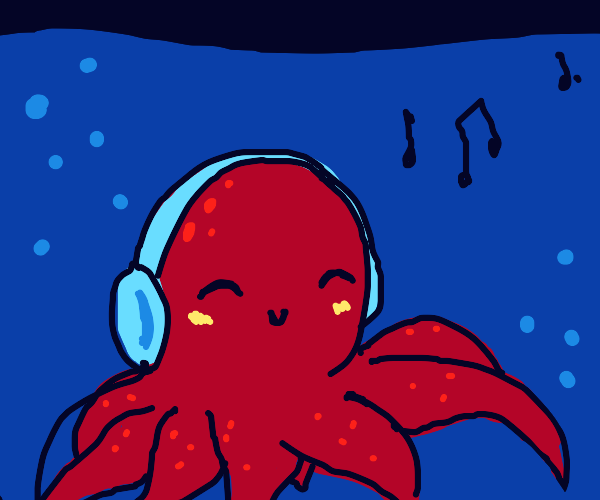 Octopus listens to song in ocean (calm vibes)