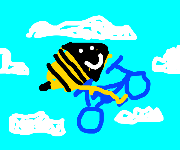 bee riding her bike in the sky