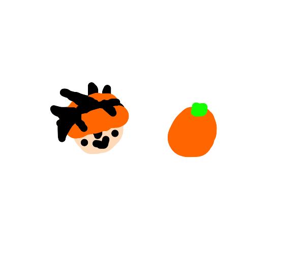Narancia Ghirga smiles at an orange