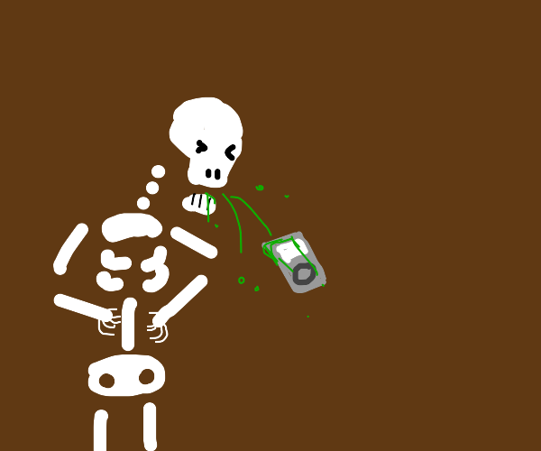Skeleton vomiting an iPod