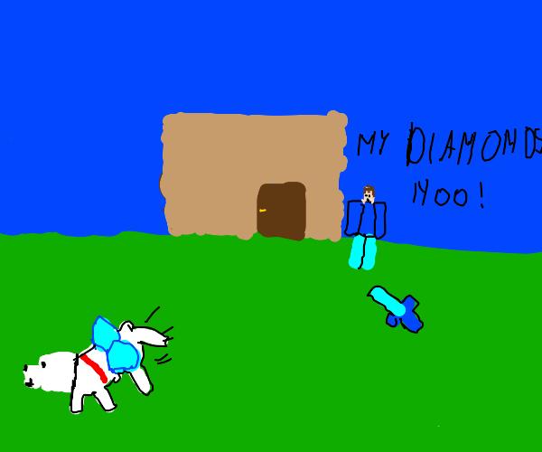 dog stealing minecraft steves diamonds