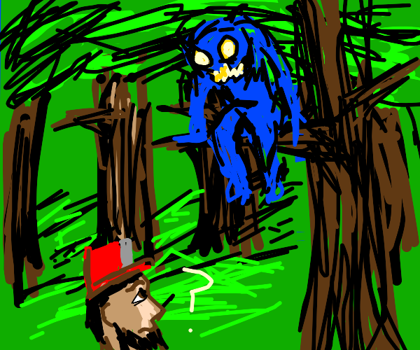 man confused at blue creature on tree branch